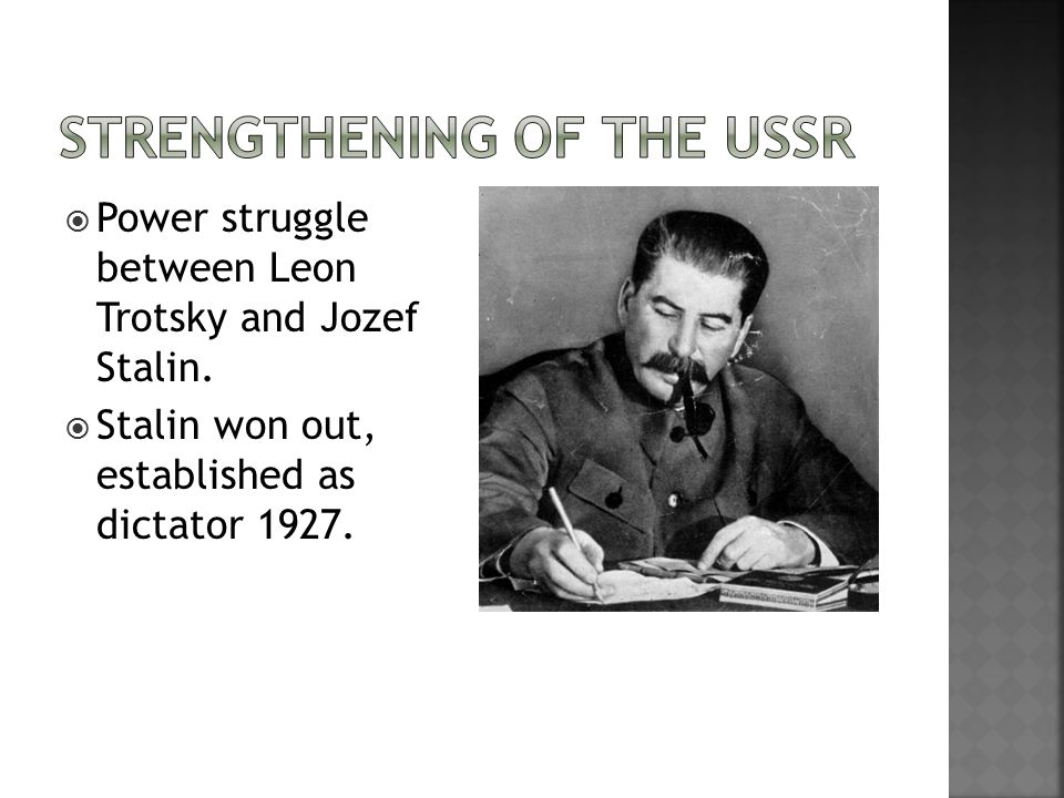  Power struggle between Leon Trotsky and Jozef Stalin.