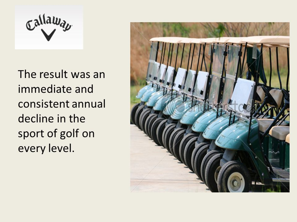 The result was an immediate and consistent annual decline in the sport of golf on every level.
