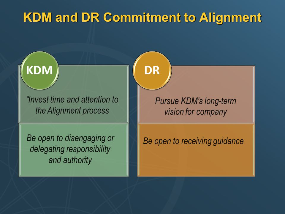 """KDM and DR Commitment to Alignment """"Invest time and attention to the Alignment process Be open to disengaging or delegating responsibility and authori"""