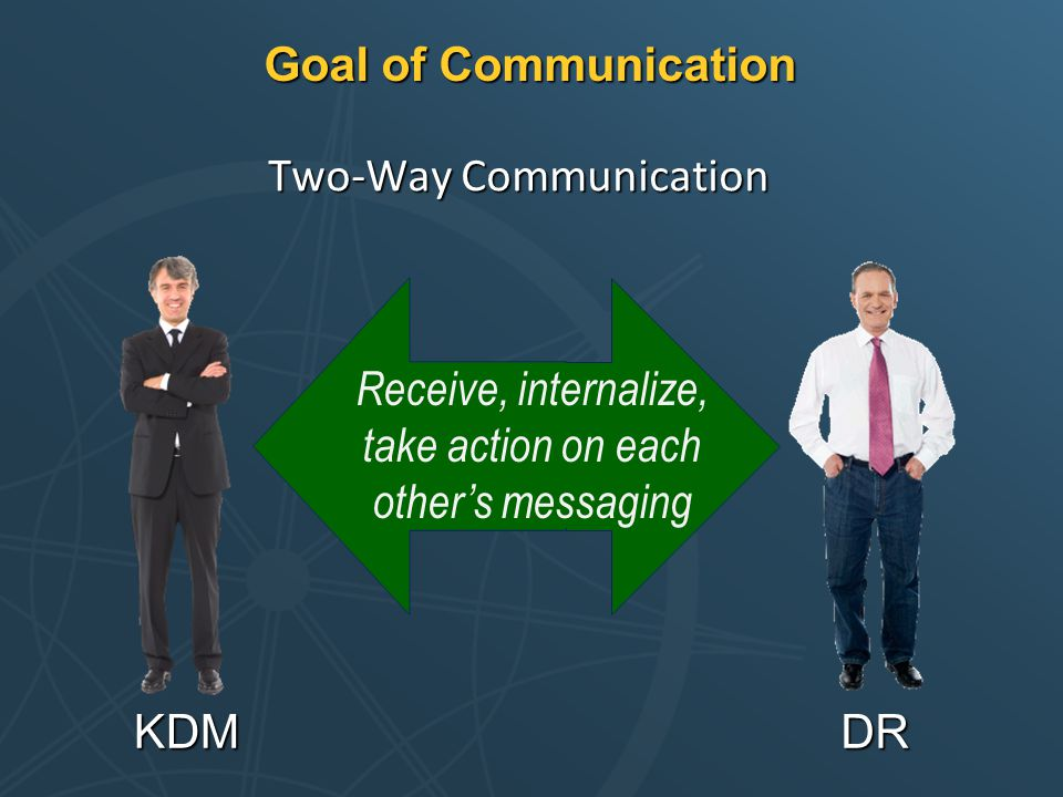 Goal of Communication Two-Way Communication KDMDR Receive, internalize, take action on each other's messaging