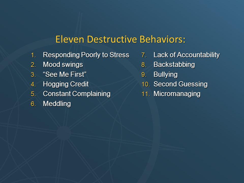 1. Responding Poorly to Stress 2. Mood swings 3.