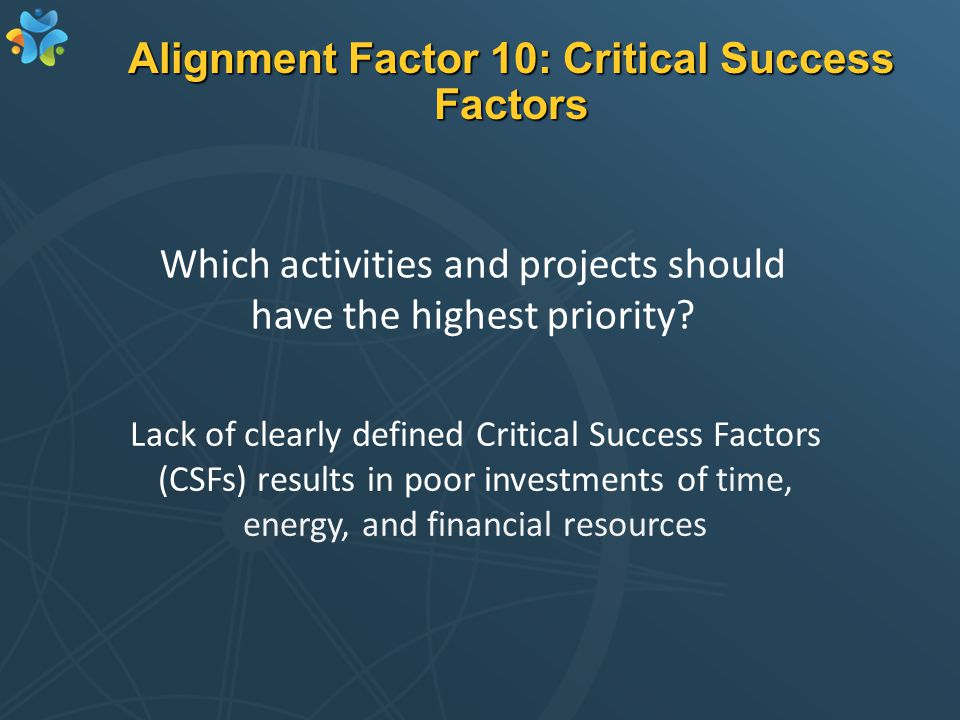 Alignment Factor 10: Critical Success Factors Lack of clearly defined Critical Success Factors (CSFs) results in poor investments of time, energy, and financial resources Which activities and projects should have the highest priority