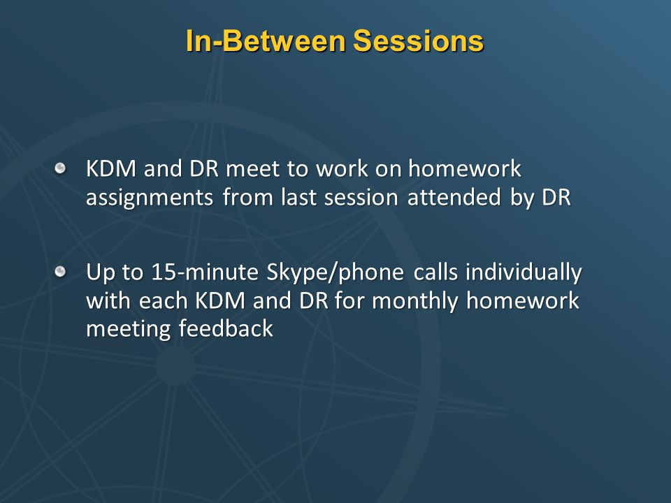 In-Between Sessions KDM and DR meet to work on homework assignments from last session attended by DR Up to 15-minute Skype/phone calls individually wi