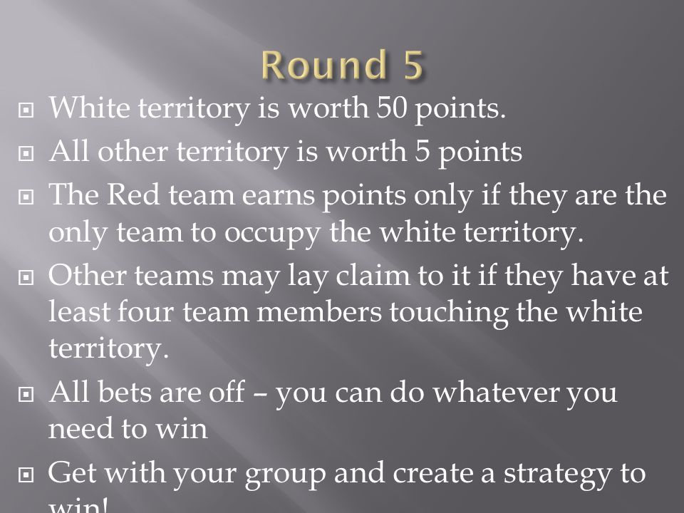  White territory is worth 50 points.  All other territory is worth 5 points  The Red team earns points only if they are the only team to occupy the