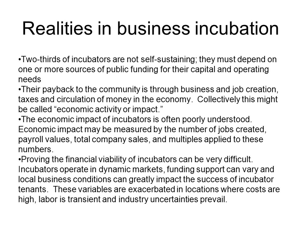 Realities in business incubation Two-thirds of incubators are not self-sustaining; they must depend on one or more sources of public funding for their