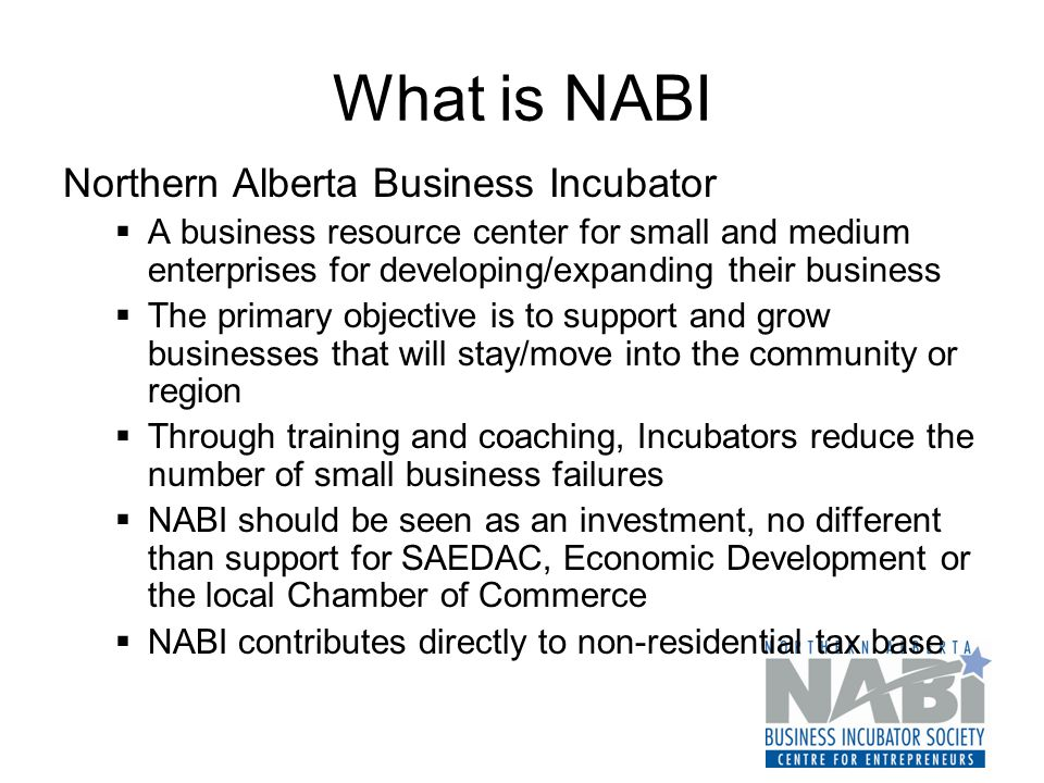 What is NABI Northern Alberta Business Incubator  A business resource center for small and medium enterprises for developing/expanding their business