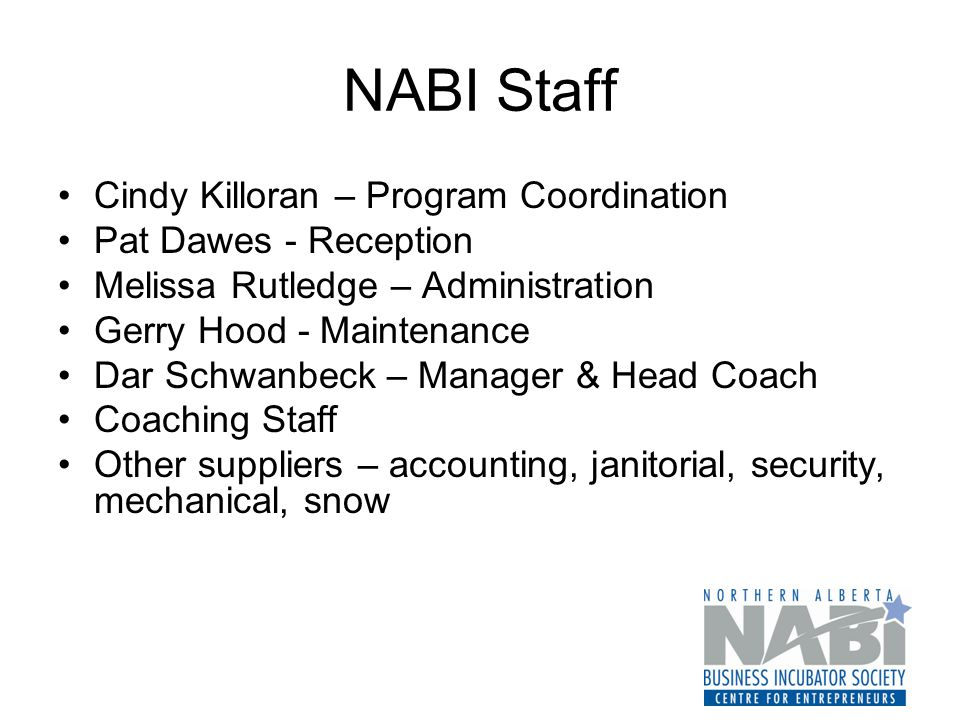 NABI Staff Cindy Killoran – Program Coordination Pat Dawes - Reception Melissa Rutledge – Administration Gerry Hood - Maintenance Dar Schwanbeck – Manager & Head Coach Coaching Staff Other suppliers – accounting, janitorial, security, mechanical, snow