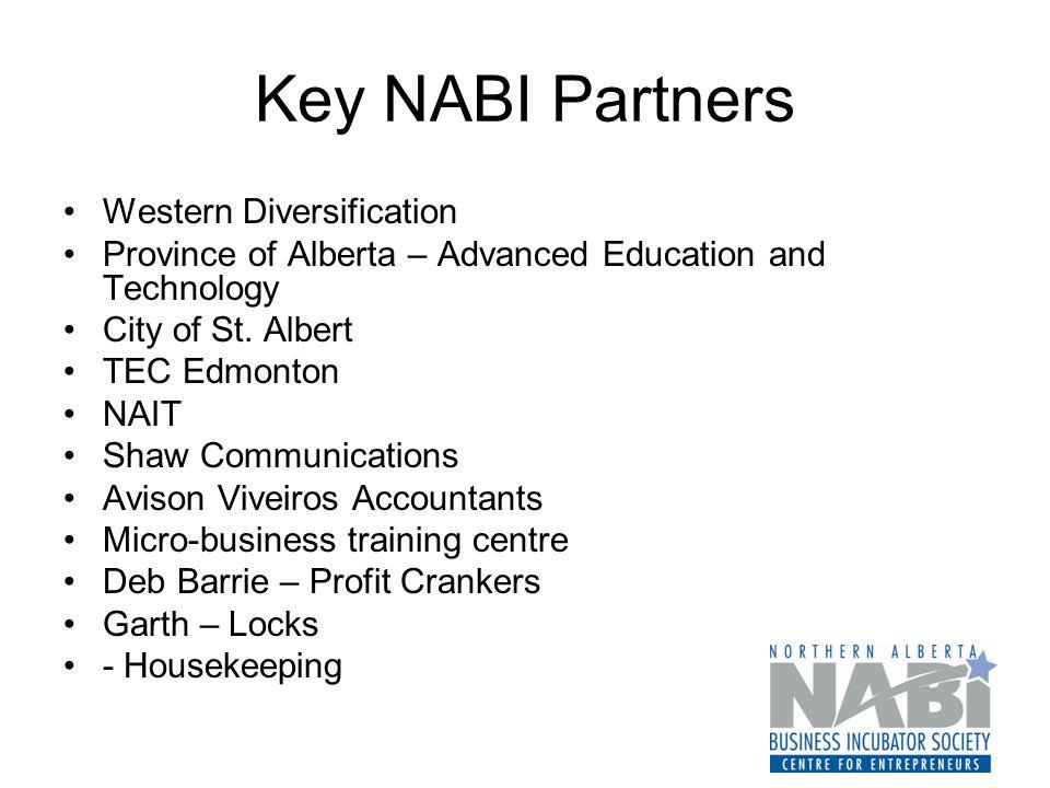 Key NABI Partners Western Diversification Province of Alberta – Advanced Education and Technology City of St.