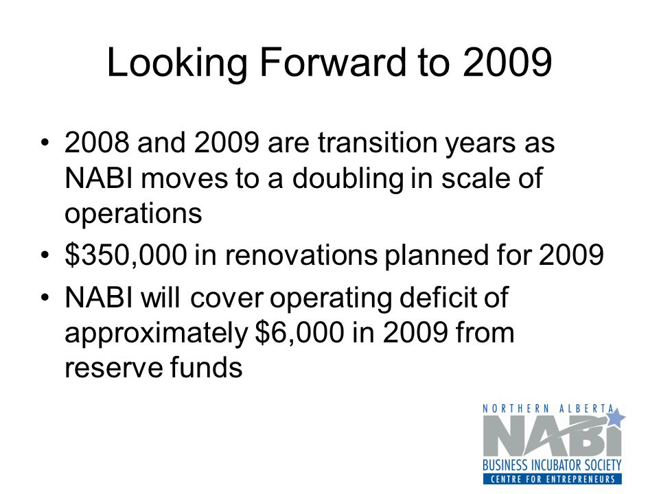 Looking Forward to 2009 2008 and 2009 are transition years as NABI moves to a doubling in scale of operations $350,000 in renovations planned for 2009