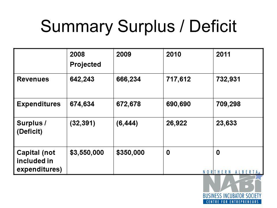 Summary Surplus / Deficit 2008 Projected 200920102011 Revenues642,243666,234717,612732,931 Expenditures674,634672,678690,690709,298 Surplus / (Deficit) (32,391)(6,444)26,92223,633 Capital (not included in expenditures) $3,550,000$350,00000