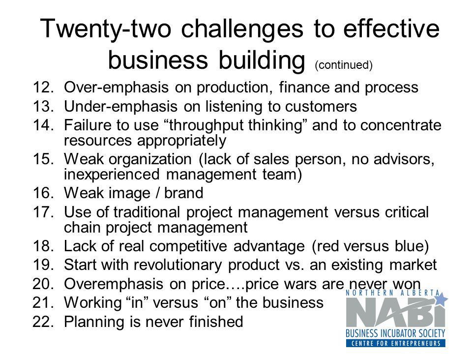 Twenty-two challenges to effective business building (continued) 12.Over-emphasis on production, finance and process 13.Under-emphasis on listening to