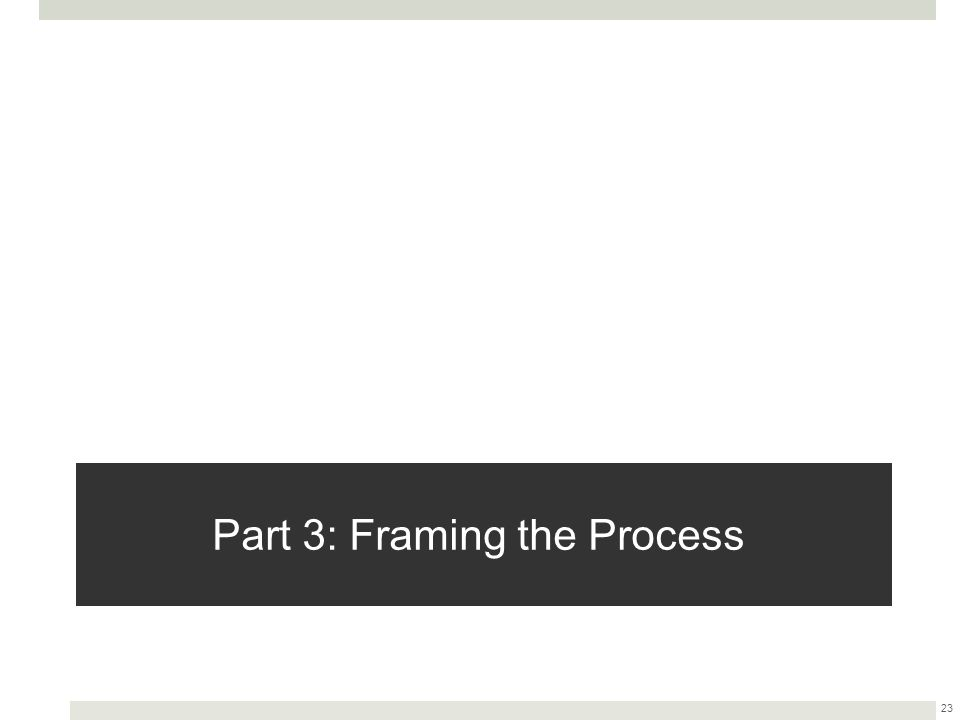 Part 3: Framing the Process 23