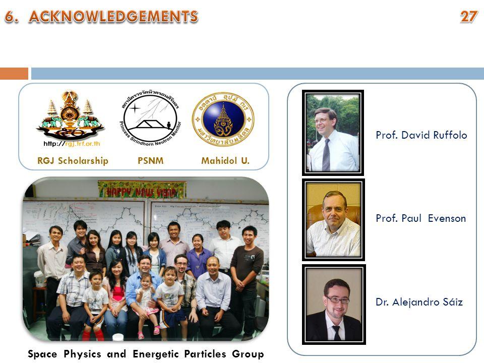 RGJ ScholarshipPSNMMahidol U. Prof. David Ruffolo Prof. Paul Evenson Dr. Alejandro Sáiz Space Physics and Energetic Particles Group