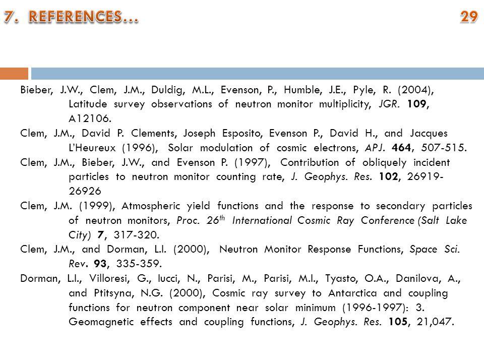 Bieber, J.W., Clem, J.M., Duldig, M.L., Evenson, P., Humble, J.E., Pyle, R. (2004), Latitude survey observations of neutron monitor multiplicity, JGR.
