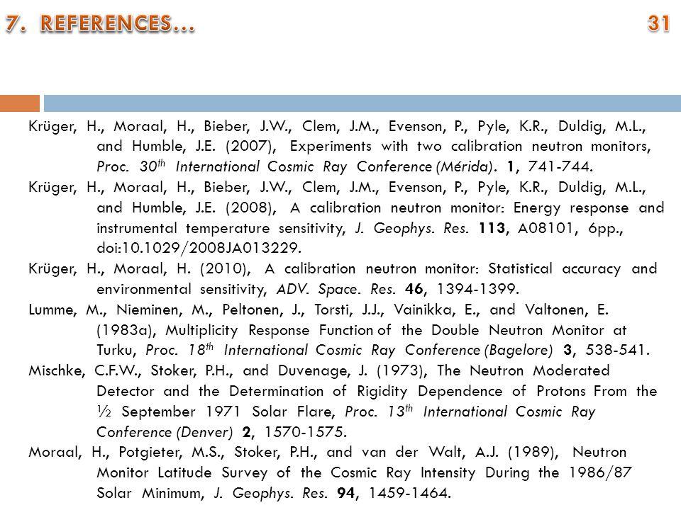 Krüger, H., Moraal, H., Bieber, J.W., Clem, J.M., Evenson, P., Pyle, K.R., Duldig, M.L., and Humble, J.E. (2007), Experiments with two calibration neu