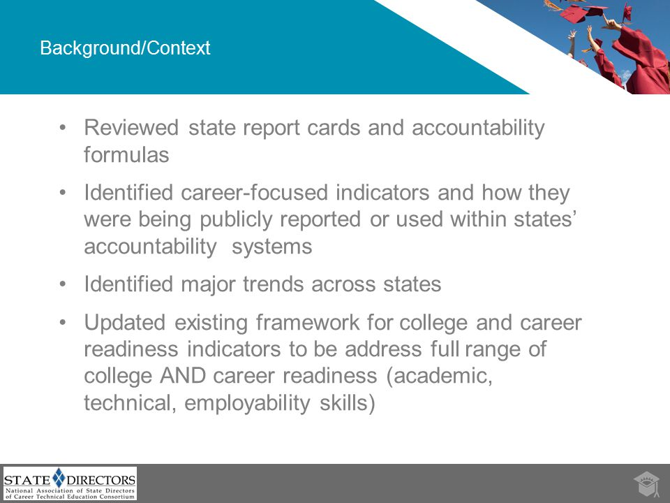 Framework 3Source: Toward College and Career Readiness Meeting College and Career Readiness Exceeding College and Career Readiness Course completion/ success  Timely credit accumulation along a college- and career-ready course of study  Students in a graduating cohort who complete a college- and career-ready course of study  Graduates who have completed AP, IB and/or dual enrollment courses and earned college credit Achieve- ment  Students with on track to college and career readiness performance on aligned assessments in middle and early high school  Students in a graduating cohort with a college- and career- ready level of performance on a high- quality assessment aligned to college- and career-ready standards  Graduates with a college-level performance on an AP and/or IB exam Attainment  9 th grade students with on track to graduation status based on attendance and grades in core courses  High school graduation  Students in a graduating cohort who earn a college- and career-ready diploma  Graduates who enroll in postsecondary education with no need for remediation  Graduates who successfully complete at least one year of postsecondary education or a workforce/military training program