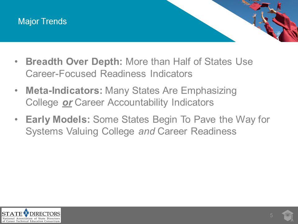 Major Trends 5Source: Breadth Over Depth: More than Half of States Use Career-Focused Readiness Indicators Meta-Indicators: Many States Are Emphasizing College or Career Accountability Indicators Early Models: Some States Begin To Pave the Way for Systems Valuing College and Career Readiness