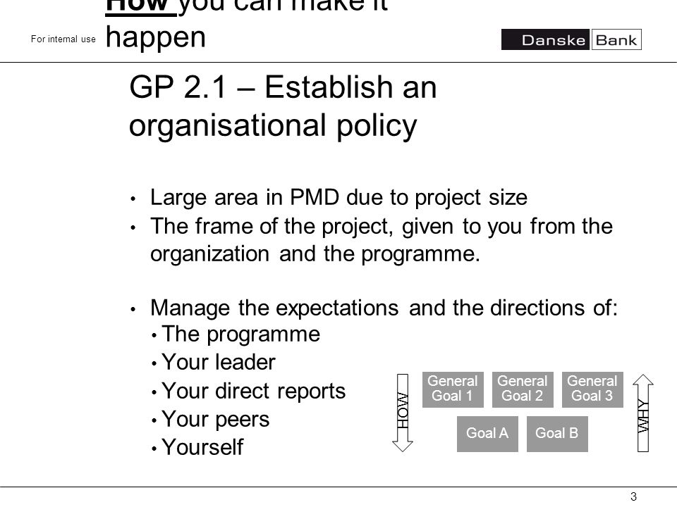 For internal use GP 2.1 – Establish an organisational policy Large area in PMD due to project size The frame of the project, given to you from the organization and the programme.
