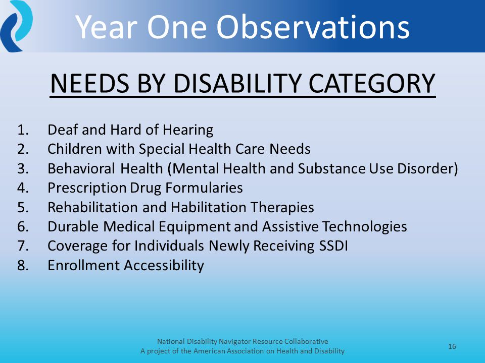 Year One Observations National Disability Navigator Resource Collaborative A project of the American Association on Health and Disability 16 1.Deaf and Hard of Hearing 2.Children with Special Health Care Needs 3.Behavioral Health (Mental Health and Substance Use Disorder) 4.Prescription Drug Formularies 5.Rehabilitation and Habilitation Therapies 6.Durable Medical Equipment and Assistive Technologies 7.Coverage for Individuals Newly Receiving SSDI 8.Enrollment Accessibility NEEDS BY DISABILITY CATEGORY