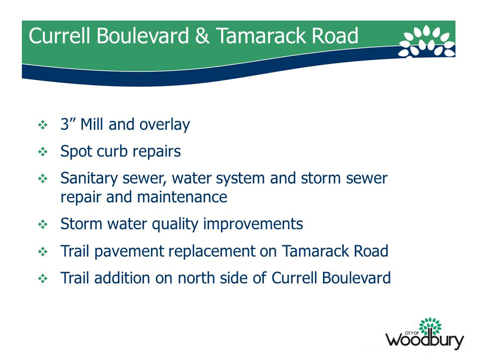 "Currell Boulevard & Tamarack Road  3"" Mill and overlay  Spot curb repairs  Sanitary sewer, water system and storm sewer repair and maintenance  St"