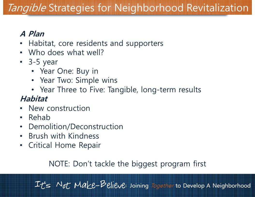 It's Not Make-Believe: Joining Together to Develop A Neighborhood Tangible Strategies for Neighborhood Revitalization A Plan Habitat, core residents and supporters Who does what well.