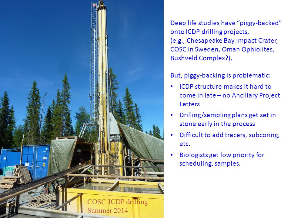 "COSC ICDP drilling Summer 2014 Deep life studies have ""piggy-backed"" onto ICDP drilling projects, (e.g., Chesapeake Bay Impact Crater, COSC in Sweden,"