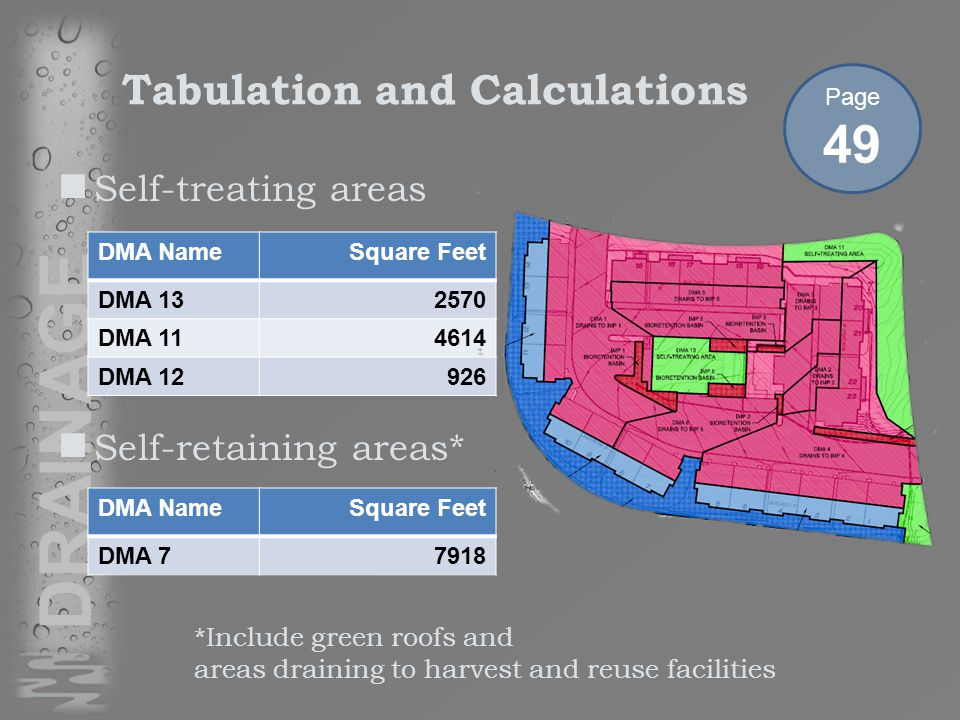 DRAINAGE Self-treating areas Self-retaining areas* DMA NameSquare Feet DMA 132570 DMA 114614 DMA 12926 Tabulation and Calculations DMA NameSquare Feet DMA 77918 Page 49 *Include green roofs and areas draining to harvest and reuse facilities