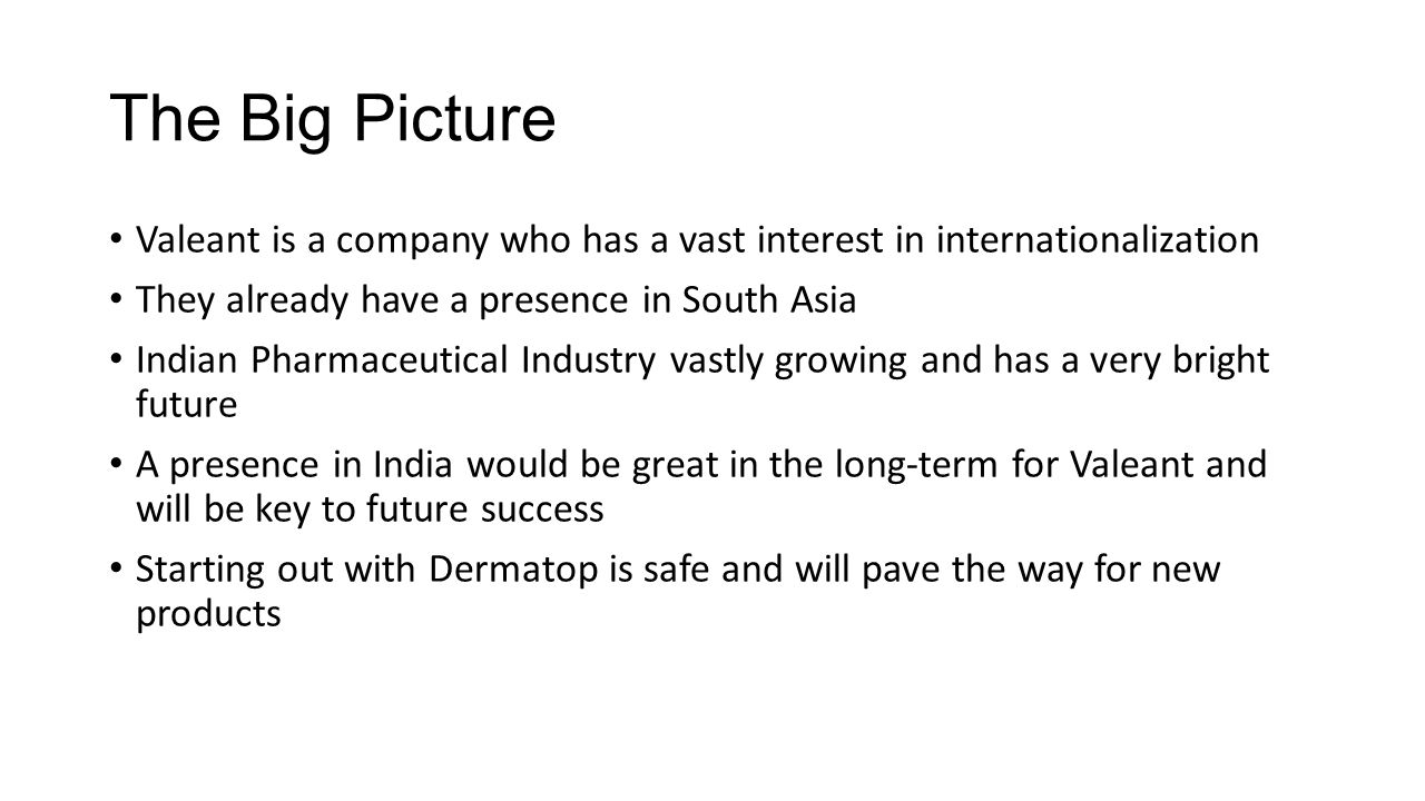 The Big Picture Valeant is a company who has a vast interest in internationalization They already have a presence in South Asia Indian Pharmaceutical