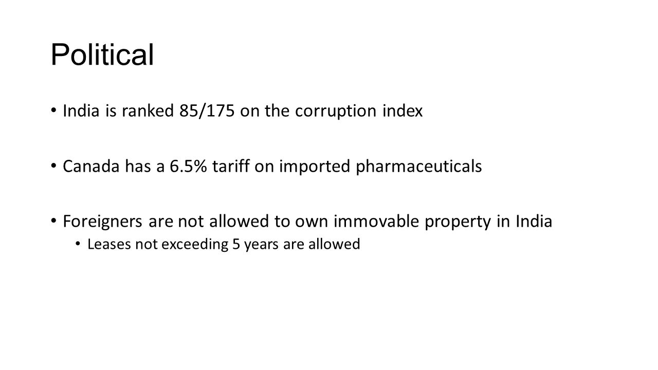 Political India is ranked 85/175 on the corruption index Canada has a 6.5% tariff on imported pharmaceuticals Foreigners are not allowed to own immova