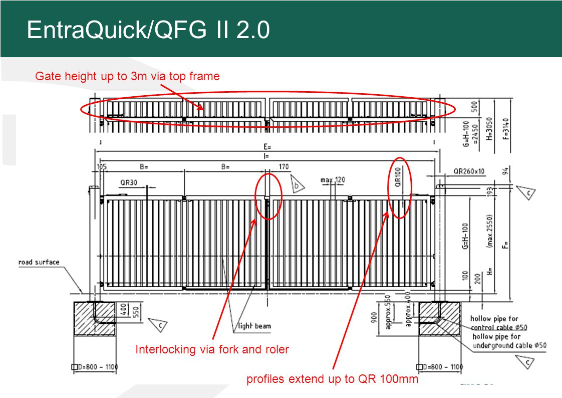 MFZ KONZEPT - Zielsetzung 4 EntraQuick/QFG II 2.0 post extend up to 200mm in between ground plate and road surface Photo cells integrated in the posts