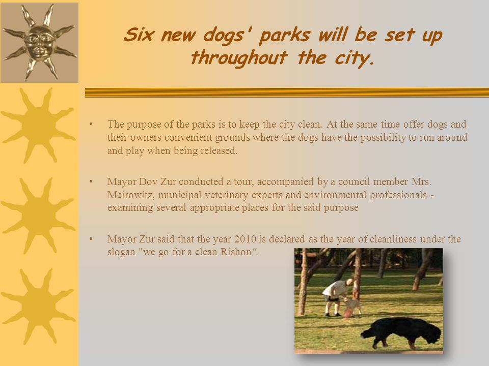 Six new dogs parks will be set up throughout the city.