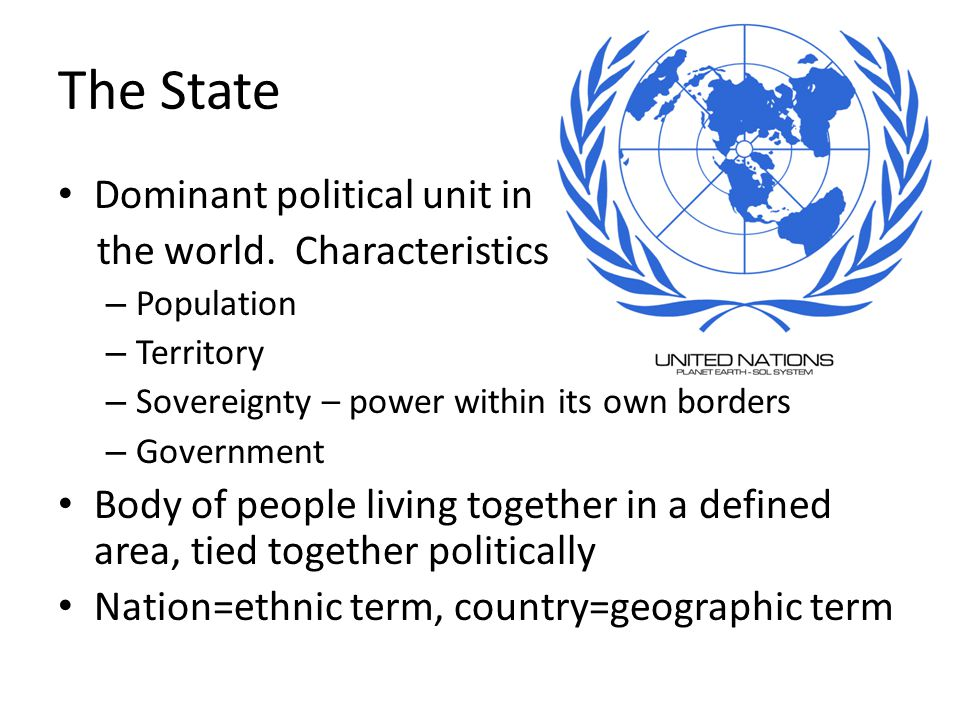 The State Dominant political unit in the world.