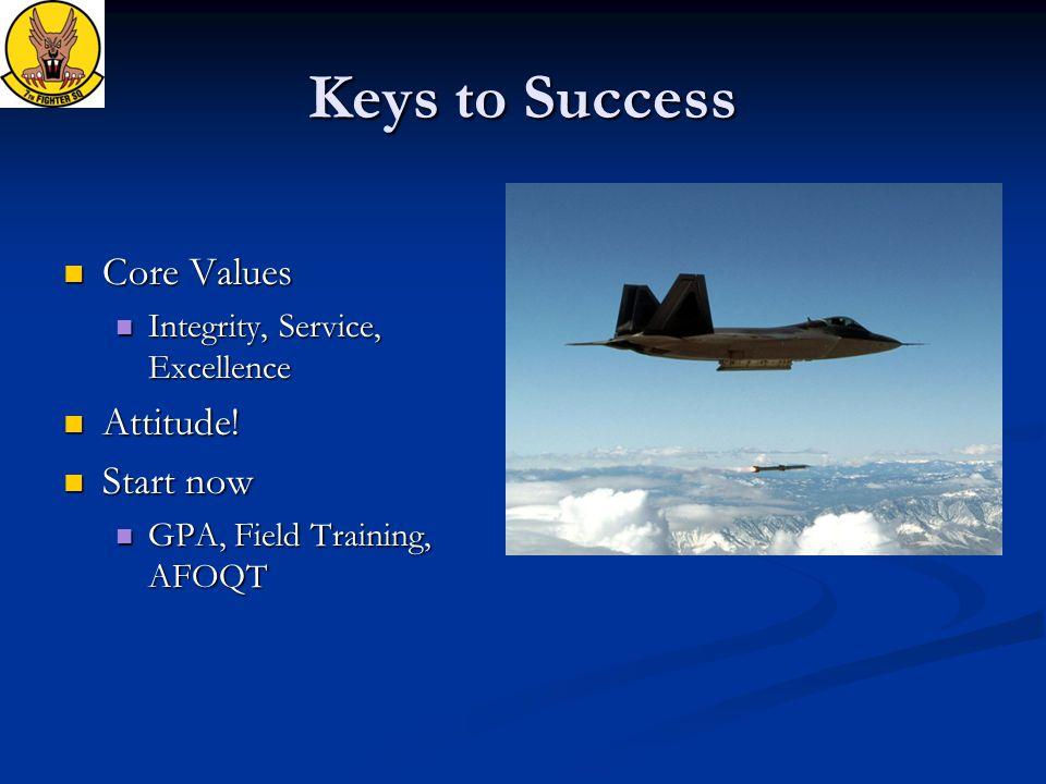 Keys to Success Core Values Core Values Integrity, Service, Excellence Integrity, Service, Excellence Attitude! Attitude! Start now Start now GPA, Fie