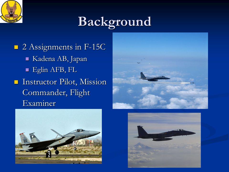 Background 2 Assignments in F-15C 2 Assignments in F-15C Kadena AB, Japan Kadena AB, Japan Eglin AFB, FL Eglin AFB, FL Instructor Pilot, Mission Comma