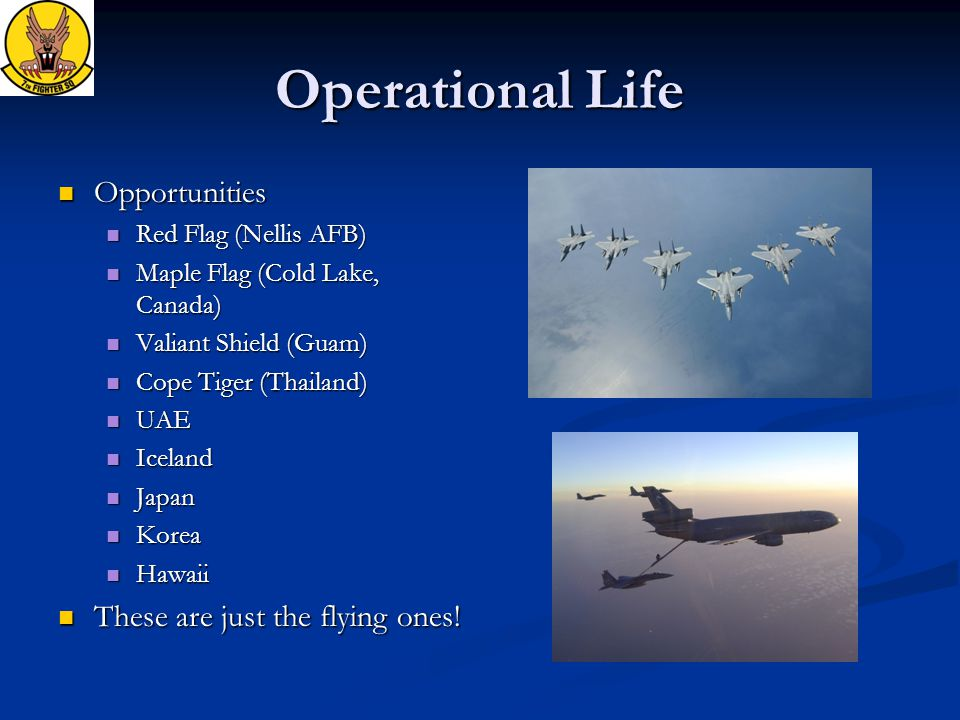 Operational Life Opportunities Opportunities Red Flag (Nellis AFB) Red Flag (Nellis AFB) Maple Flag (Cold Lake, Canada) Maple Flag (Cold Lake, Canada) Valiant Shield (Guam) Valiant Shield (Guam) Cope Tiger (Thailand) Cope Tiger (Thailand) UAE UAE Iceland Iceland Japan Japan Korea Korea Hawaii Hawaii These are just the flying ones.