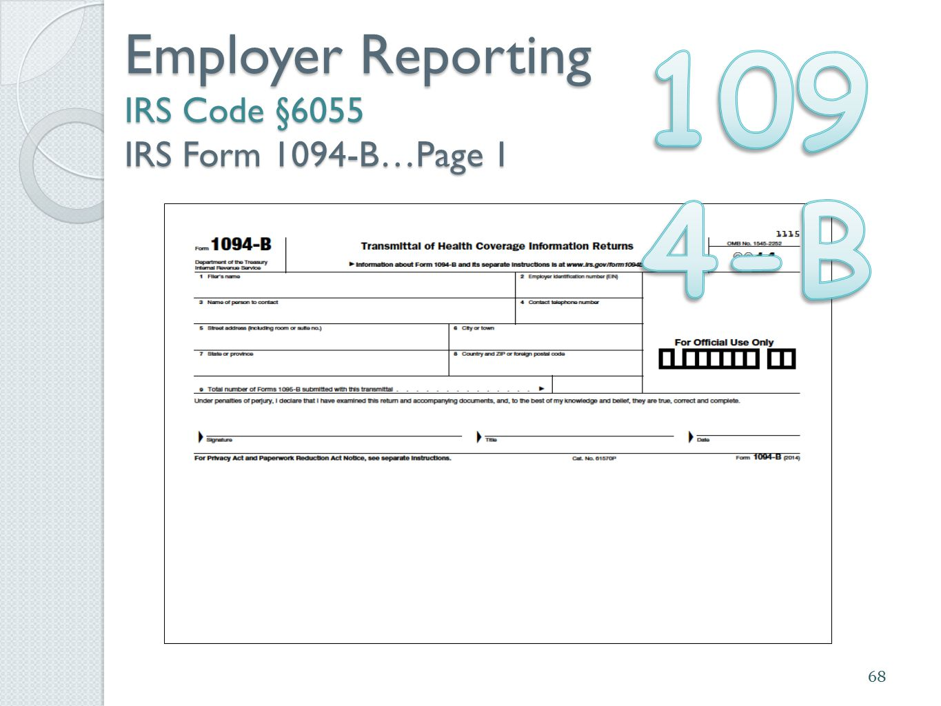 Employer Reporting IRS Code §6055 IRS Form 1094-B…Page 1 68