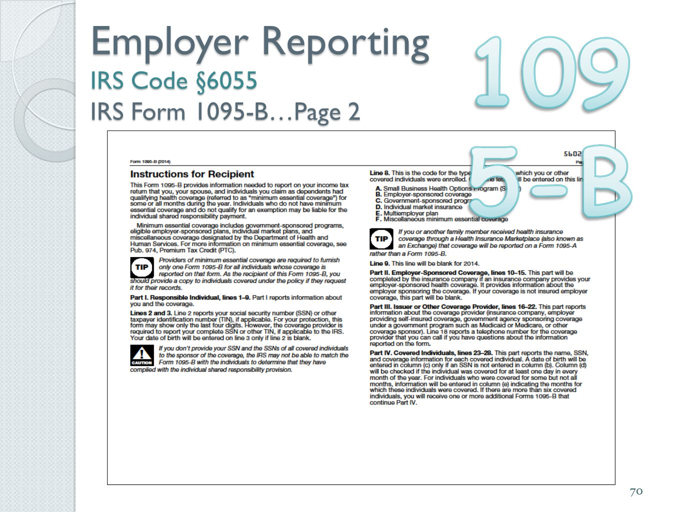 70 Employer Reporting IRS Code §6055 IRS Form 1095-B…Page 2