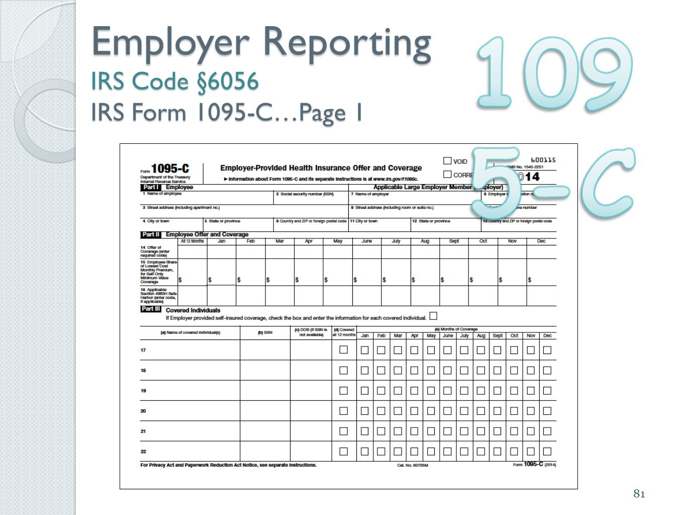 81 Employer Reporting IRS Code §6056 IRS Form 1095-C…Page 1