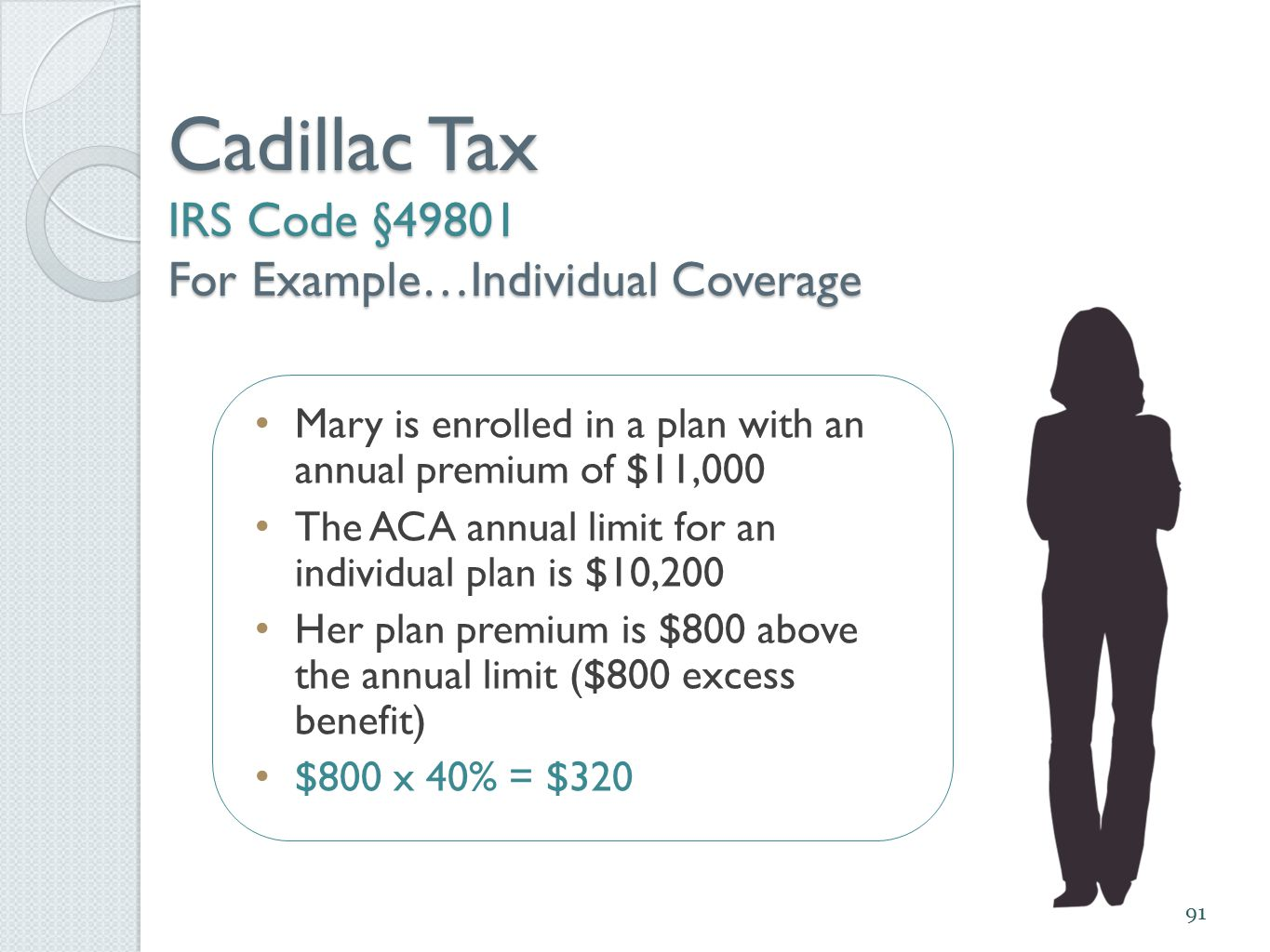 Cadillac Tax IRS Code §49801 For Example…Individual Coverage 91 Mary is enrolled in a plan with an annual premium of $11,000 The ACA annual limit for an individual plan is $10,200 Her plan premium is $800 above the annual limit ($800 excess benefit) $800 x 40% = $320