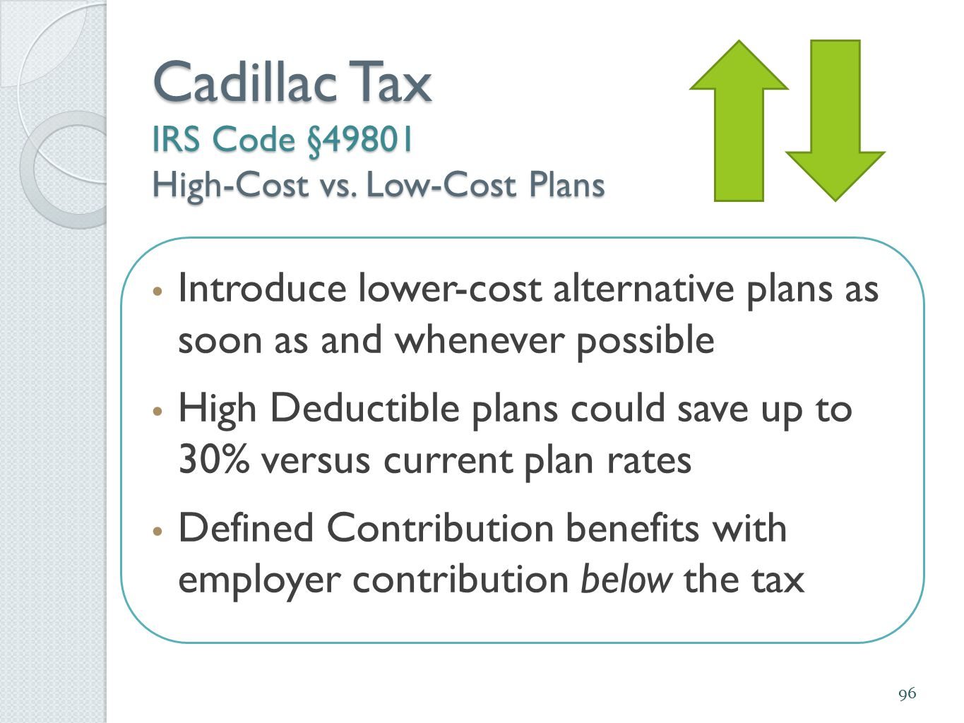 Introduce lower-cost alternative plans as soon as and whenever possible High Deductible plans could save up to 30% versus current plan rates Defined C