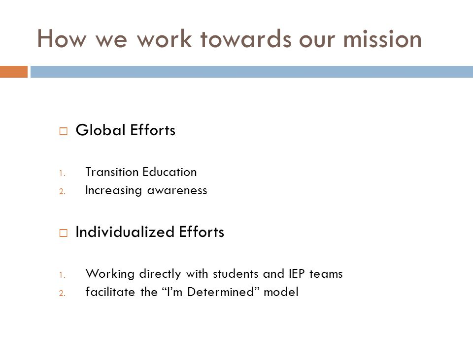 How we work towards our mission  Global Efforts 1.