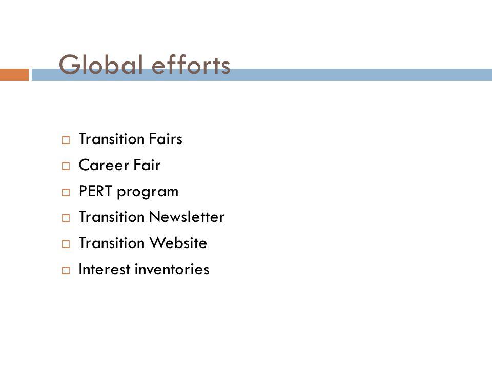 Global efforts  Transition Fairs  Career Fair  PERT program  Transition Newsletter  Transition Website  Interest inventories