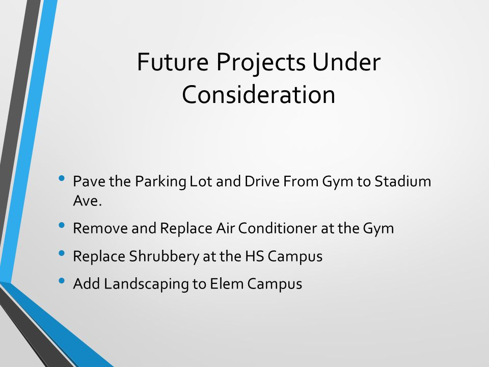 Future Projects Under Consideration Pave the Parking Lot and Drive From Gym to Stadium Ave.