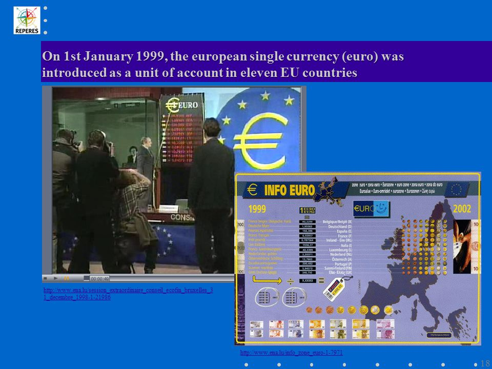 On 1st January 1999, the european single currency (euro) was introduced as a unit of account in eleven EU countries http://www.ena.lu/session_extraord
