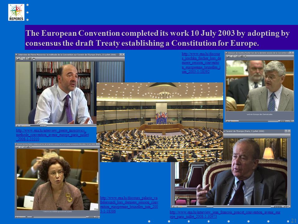 The European Convention completed its work 10 July 2003 by adopting by consensus the draft Treaty establishing a Constitution for Europe. http://www.e