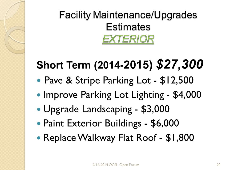 Long Term (2016-2018) $90,000 Replace Sanctuary & Social Hall Roofs - $83,000 Pave Area Graveled Parking Area - $7,000 2/16/2014 OCSL Open Forum21
