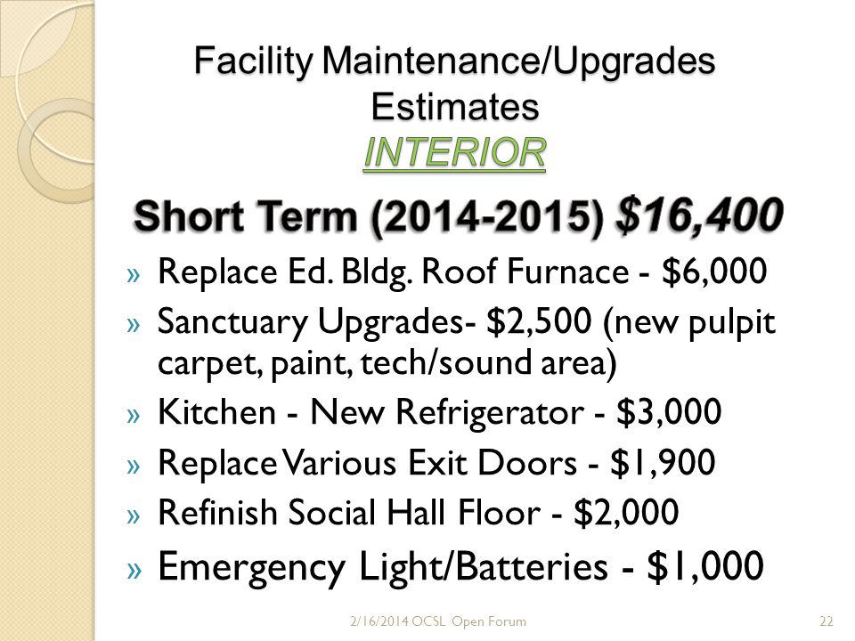 FACILITIES GRAND TOTAL 2/16/2014 OCSL Open Forum23