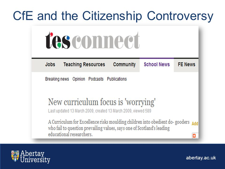 abertay.ac.uk CfE and the Citizenship Controversy