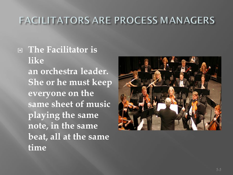  The Facilitator is like an orchestra leader.
