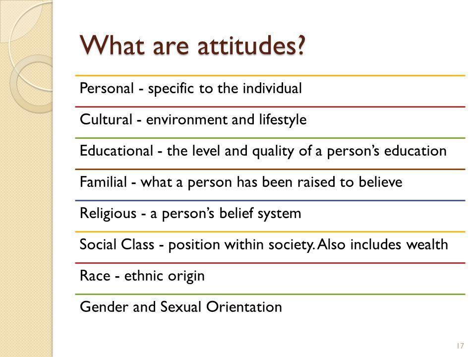 What are attitudes.